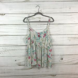 Torrid Light Cream Floral Tank Top Size 2 XL